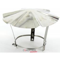 Chapeau de couverture diametre 125 inox pour tuyaux simple paroi