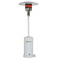 Parasol chauffant mobile sur roues au gaz propane couleur blanche puissance reglable de 5 a 13 kw