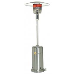 Parasol chauffant mobile sur roues au gaz propane en acier inox poli puissance reglable de 5 a 13 kw