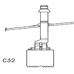 Kit c32 evacuation toiture concentrique pour chauffage sovelor agv55 à 95