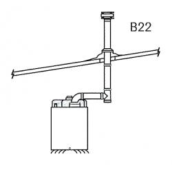 Kit evacuation toiture simple b22 pour chauffage sovelor agv28 et 36