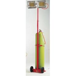 Radiant solor mobile sur roues gaz propane ou butane 8,34 kw mobile sur roues avec mat telescopi
