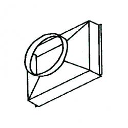 Adaptateur circulaire d.630 pour plenum rectangulaire 90° de chauffage sovelor sf95 sf130 dso95 dso130