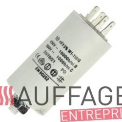 Condensateur 10 uf pour moteur ventilateur de chauffage sovelor f30/35 et sp35