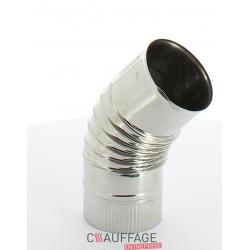 Coude 45° diametre 180 simple paroi inox prh pour chauffage sovelor