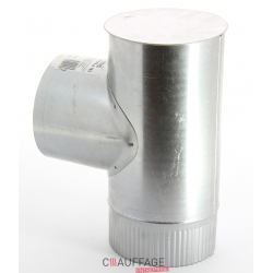 Te depart equerre avec tampon diametre 125 simple paroi aluminie