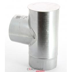 Te depart equerre avec tampon diametre 200 simple paroi aluminie