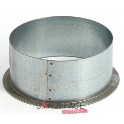Piquage sur plat diametre 200 pour gaine rigide galva avec bride de fixation